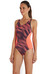 speedo Endurance+ Fit Splice Allover Badpak Dames grijs/oranje